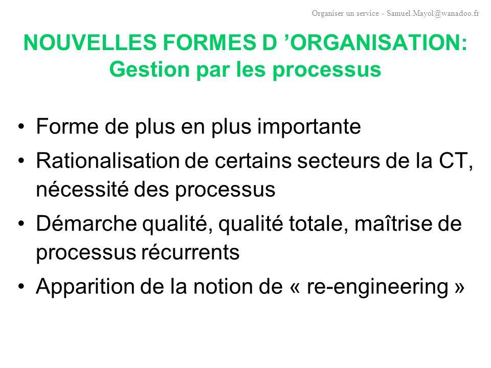NOUVELLES FORMES D 'ORGANISATION: Gestion par les processus