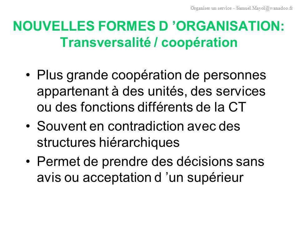 NOUVELLES FORMES D 'ORGANISATION: Transversalité / coopération