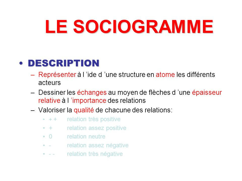 LE SOCIOGRAMME DESCRIPTION