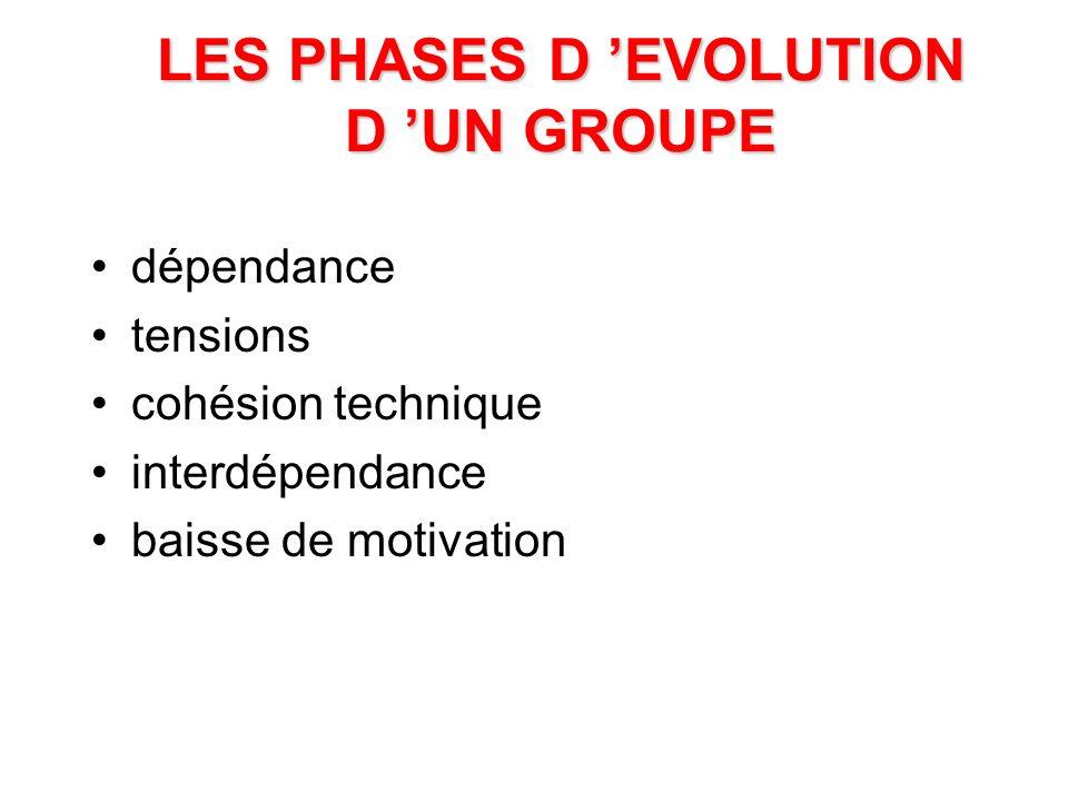 LES PHASES D 'EVOLUTION D 'UN GROUPE