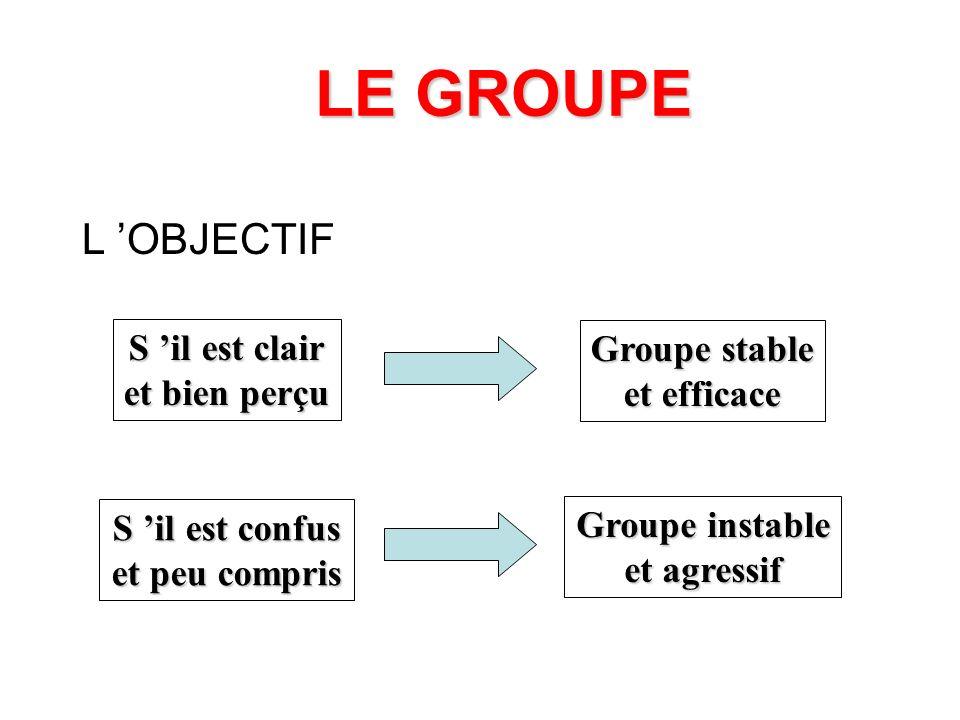 LE GROUPE L 'OBJECTIF S 'il est clair Groupe stable et bien perçu
