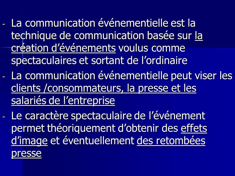 La communication événementielle est la technique de communication basée sur la création d'événements voulus comme spectaculaires et sortant de l'ordinaire