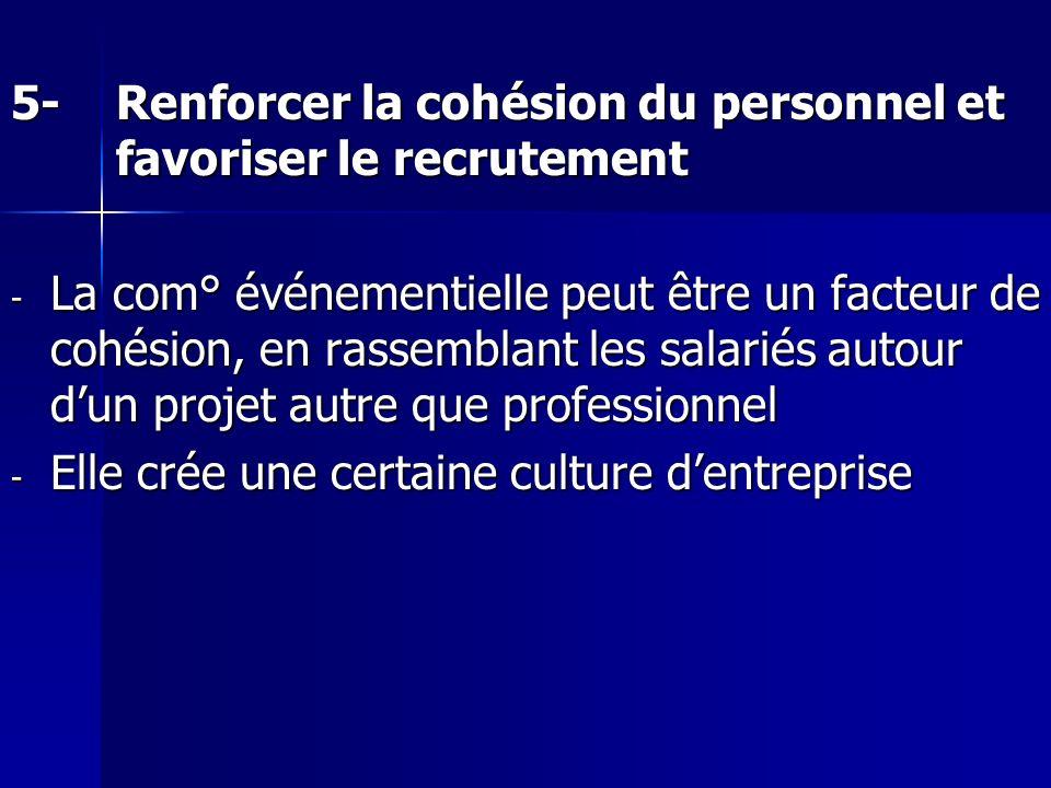 5- Renforcer la cohésion du personnel et favoriser le recrutement
