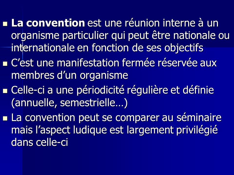 La convention est une réunion interne à un organisme particulier qui peut être nationale ou internationale en fonction de ses objectifs