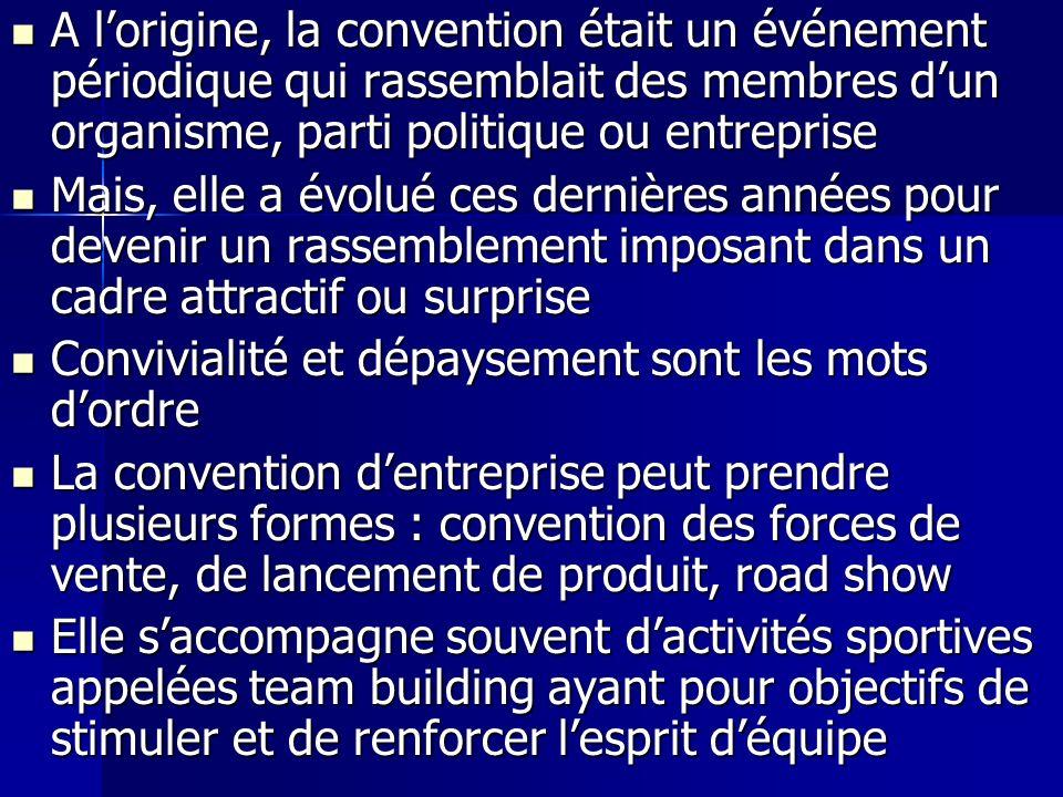 A l'origine, la convention était un événement périodique qui rassemblait des membres d'un organisme, parti politique ou entreprise