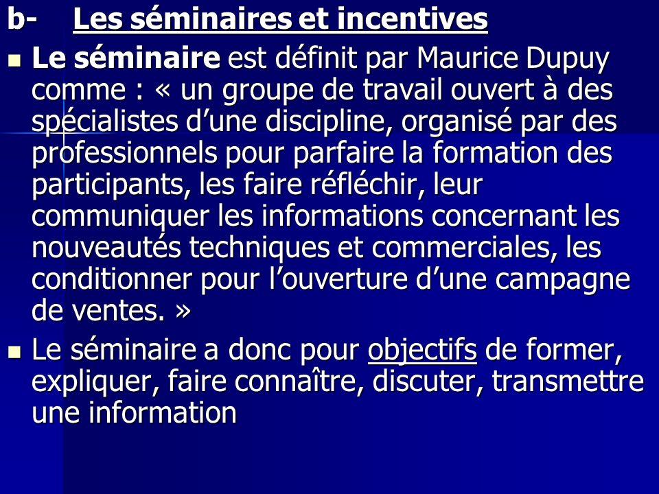 b- Les séminaires et incentives