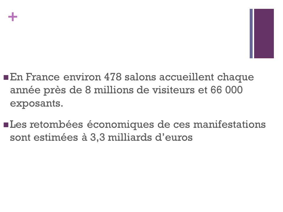 En France environ 478 salons accueillent chaque année près de 8 millions de visiteurs et 66 000 exposants.