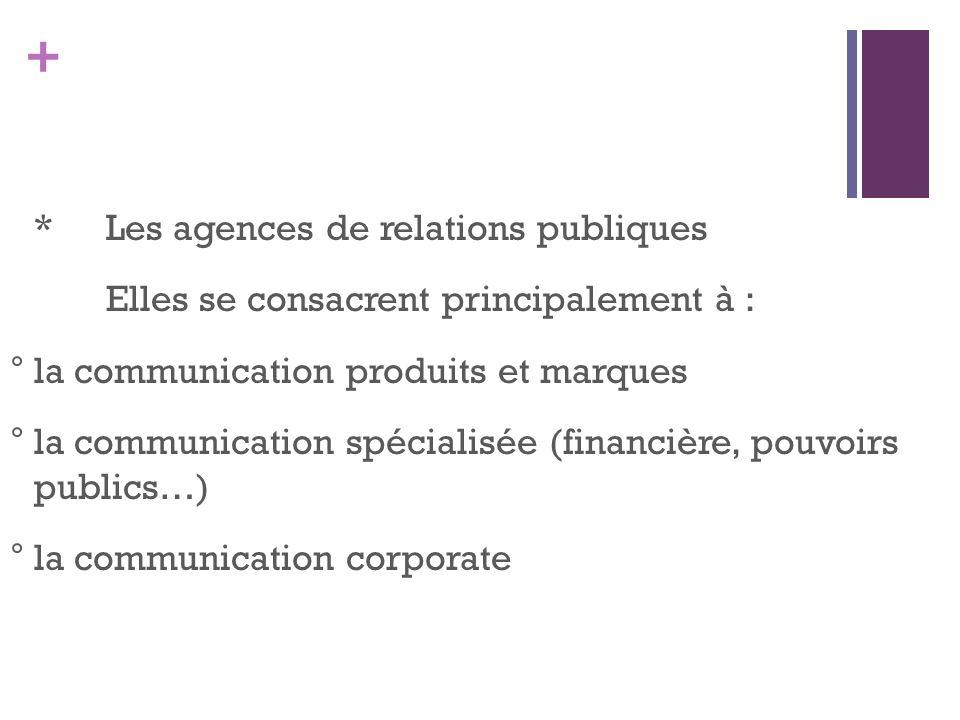 * Les agences de relations publiques Elles se consacrent principalement à : ° la communication produits et marques ° la communication spécialisée (financière, pouvoirs publics…) ° la communication corporate