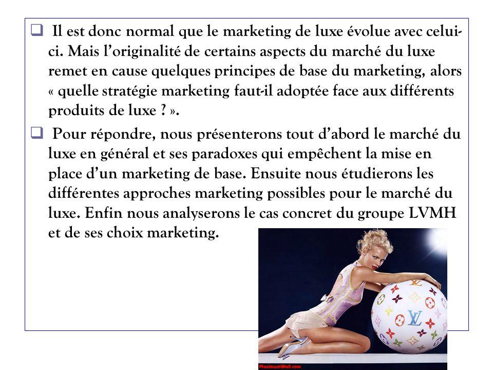 Il est donc normal que le marketing de luxe évolue avec celui-ci