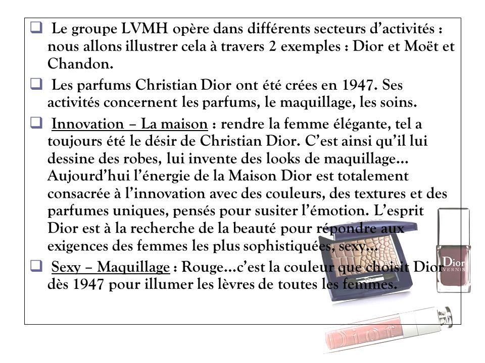 Le groupe LVMH opère dans différents secteurs d'activités : nous allons illustrer cela à travers 2 exemples : Dior et Moët et Chandon.