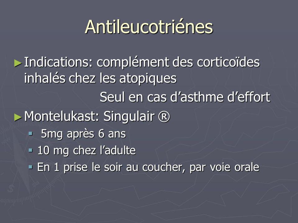 Antileucotriénes Indications: complément des corticoïdes inhalés chez les atopiques. Seul en cas d'asthme d'effort.