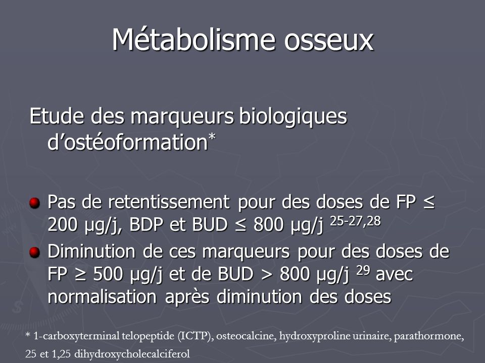 Métabolisme osseux Etude des marqueurs biologiques d'ostéoformation*