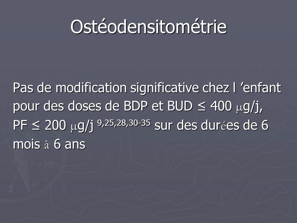 Ostéodensitométrie Pas de modification significative chez l 'enfant