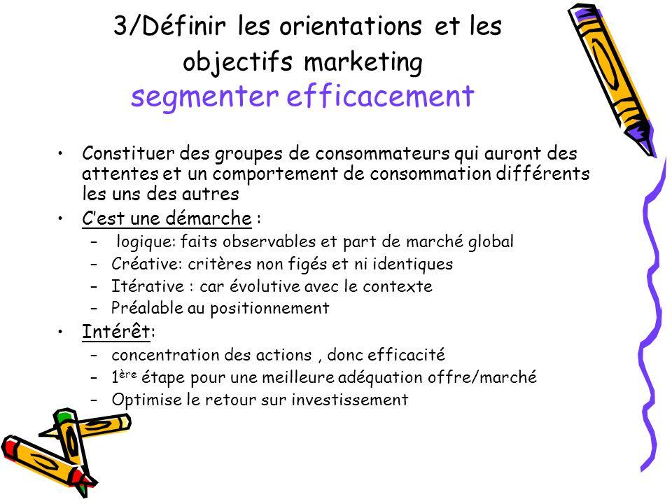 3/Définir les orientations et les objectifs marketing segmenter efficacement