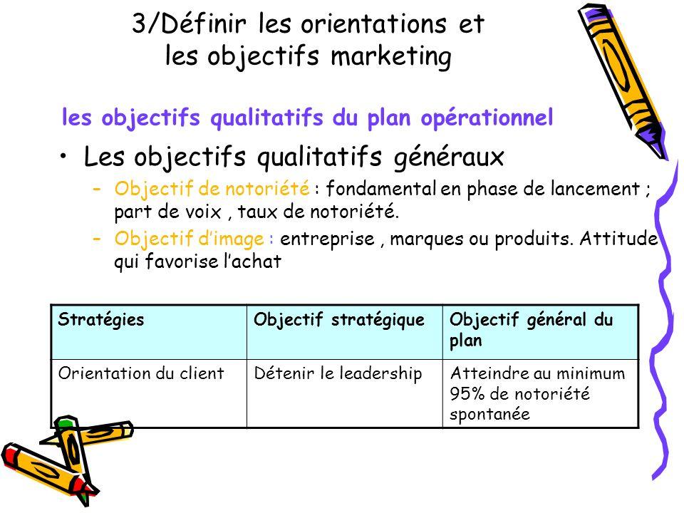 Les objectifs qualitatifs généraux