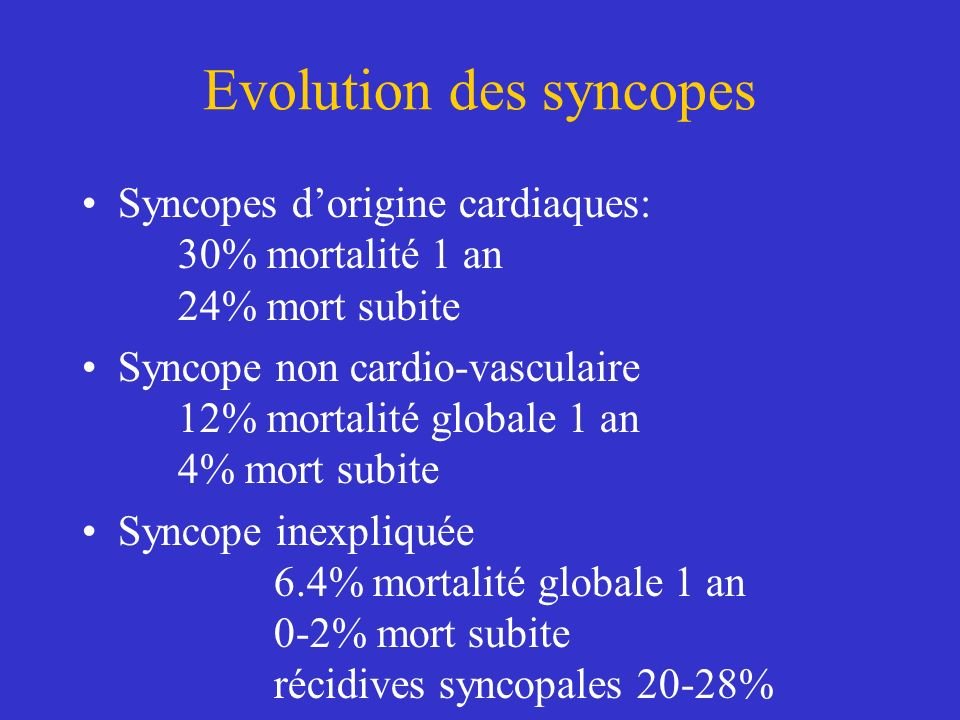Evolution des syncopes