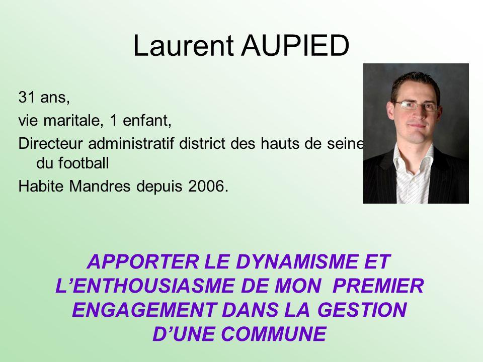 Laurent AUPIED 31 ans, vie maritale, 1 enfant, Directeur administratif district des hauts de seine du football Habite Mandres depuis 2006.