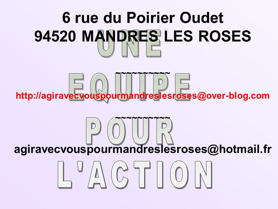 UNE EQUIPE POUR L ACTION 6 rue du Poirier Oudet