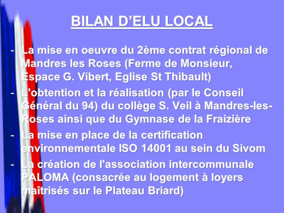 BILAN D'ELU LOCALLa mise en oeuvre du 2ème contrat régional de Mandres les Roses (Ferme de Monsieur, Espace G. Vibert, Eglise St Thibault)