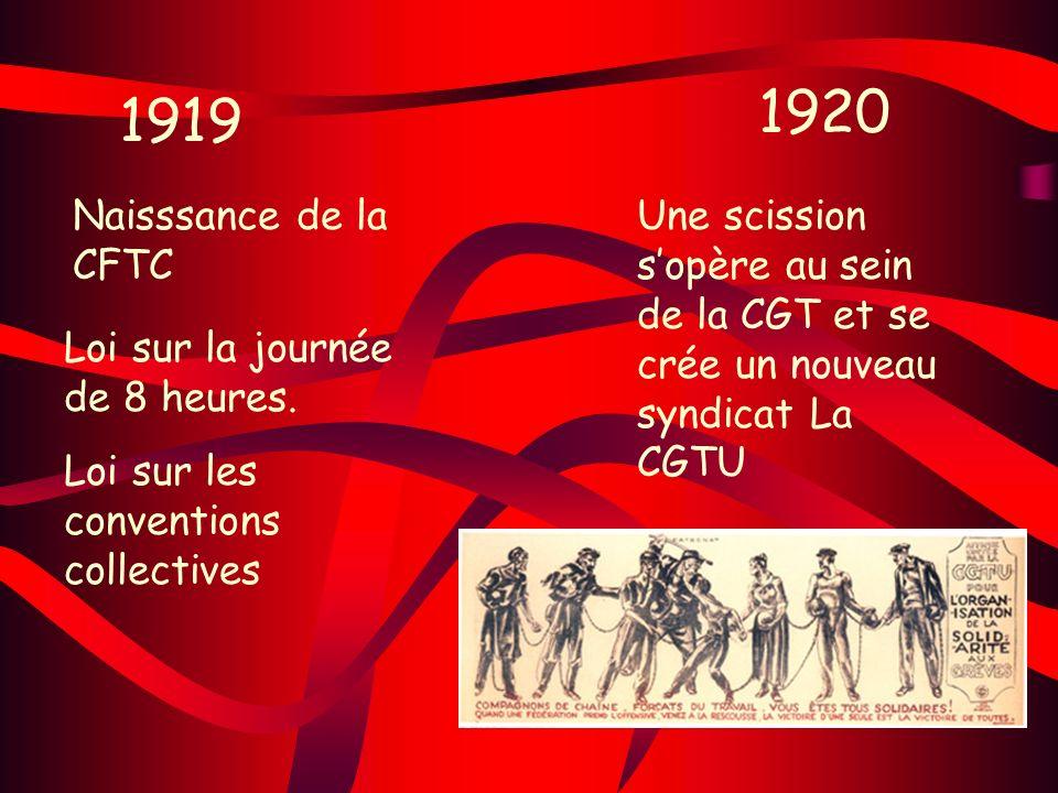 1920 1919. Naisssance de la CFTC. Une scission s'opère au sein de la CGT et se crée un nouveau syndicat La CGTU.