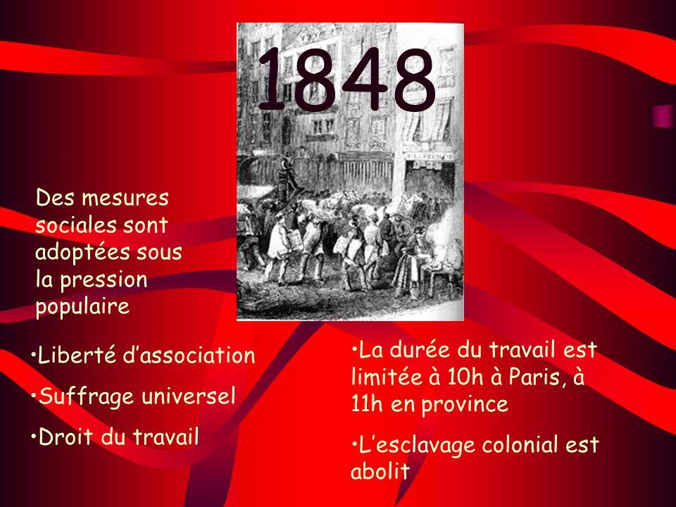 1848 Des mesures sociales sont adoptées sous la pression populaire