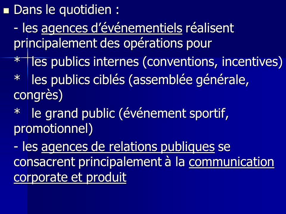 Dans le quotidien : - les agences d'événementiels réalisent principalement des opérations pour. * les publics internes (conventions, incentives)