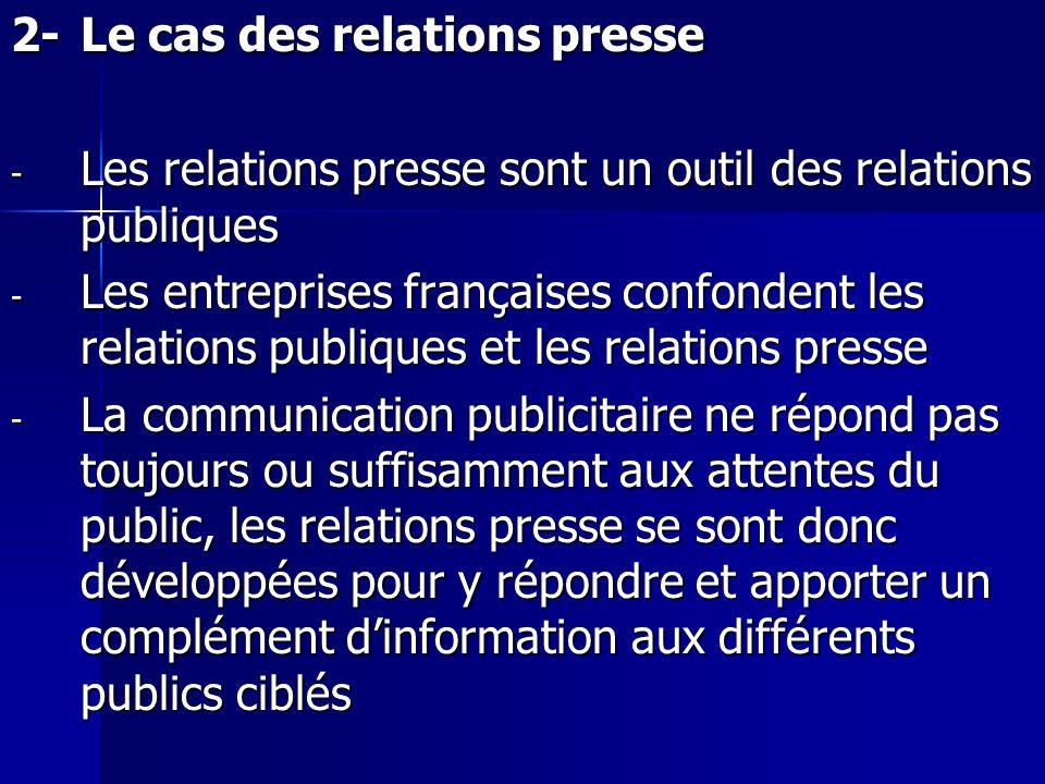 2- Le cas des relations presse