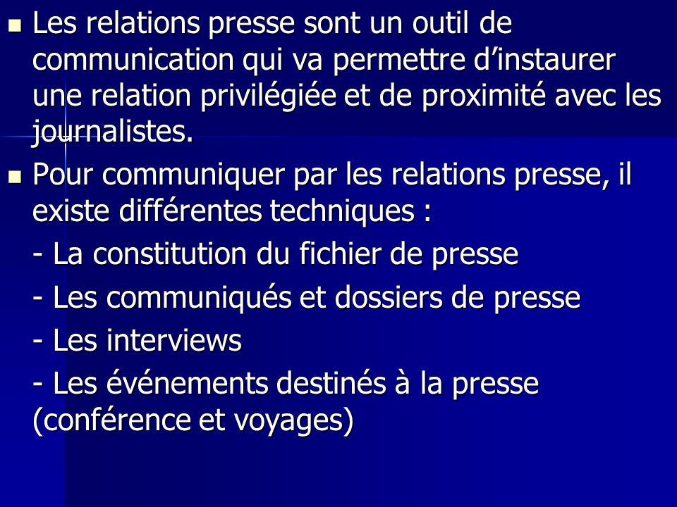 Les relations presse sont un outil de communication qui va permettre d'instaurer une relation privilégiée et de proximité avec les journalistes.