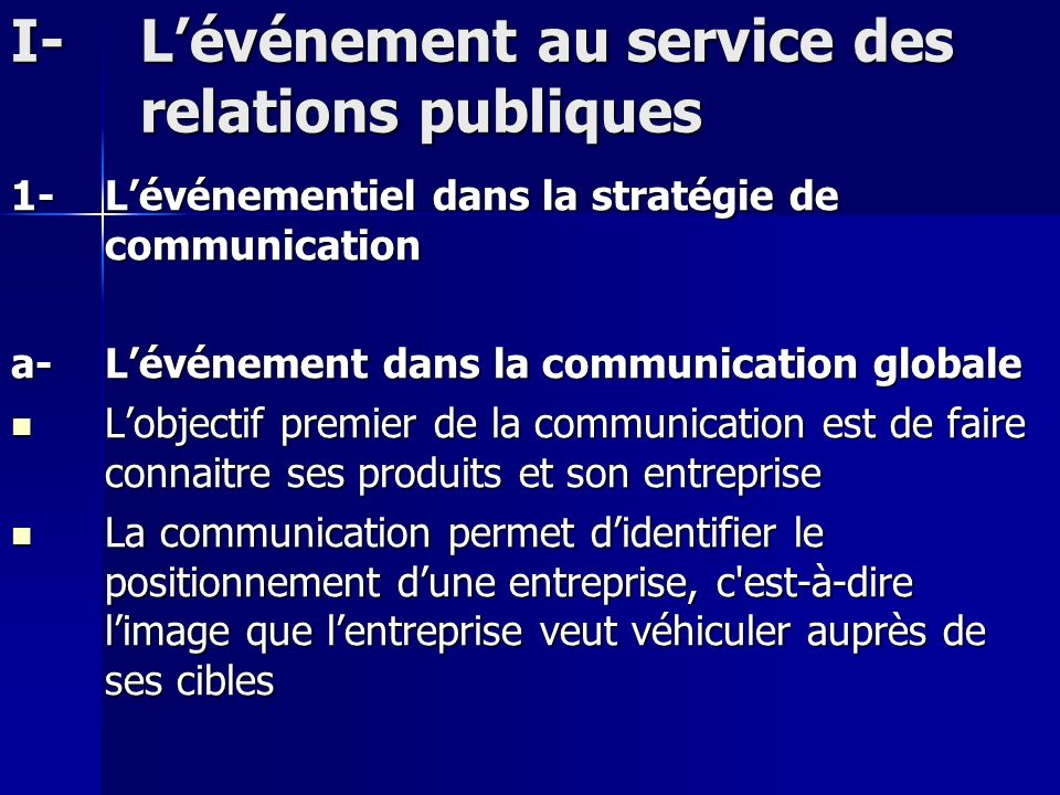 I- L'événement au service des relations publiques