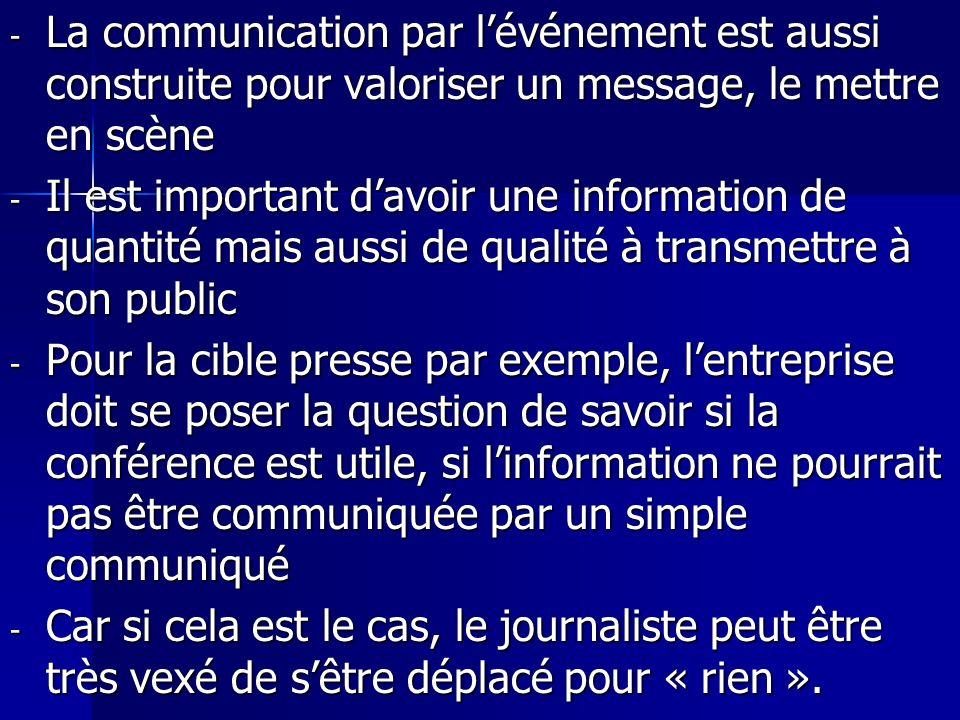 La communication par l'événement est aussi construite pour valoriser un message, le mettre en scène