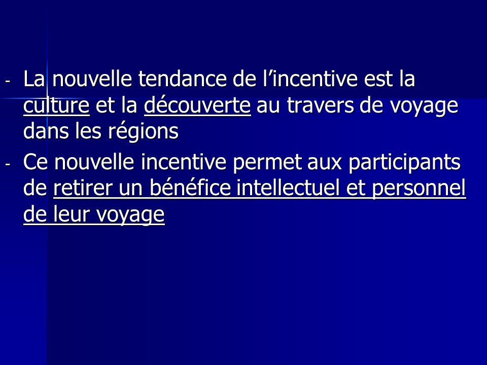 La nouvelle tendance de l'incentive est la culture et la découverte au travers de voyage dans les régions