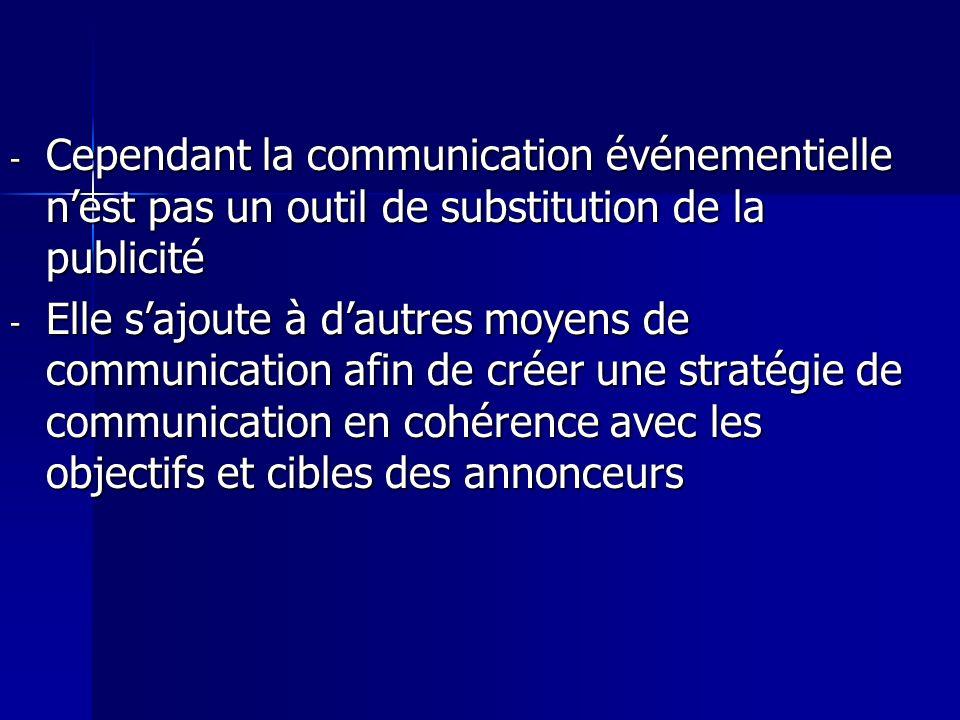 Cependant la communication événementielle n'est pas un outil de substitution de la publicité