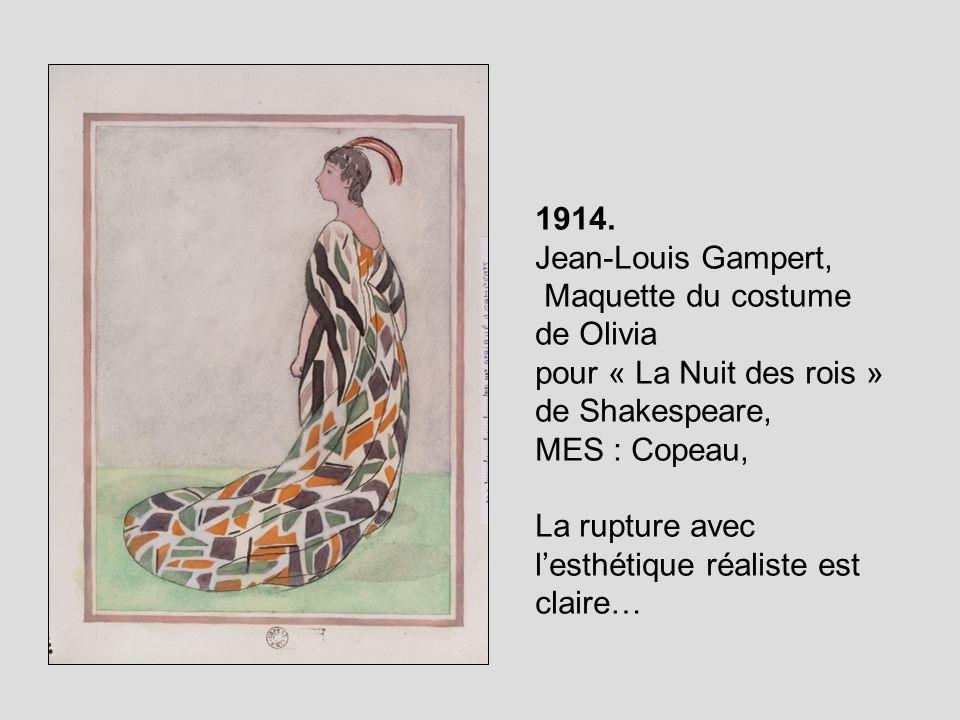 1914.Jean-Louis Gampert, Maquette du costume de Olivia. pour « La Nuit des rois » de Shakespeare, MES : Copeau,