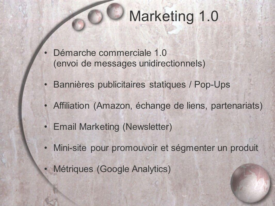 Marketing 1.0 Démarche commerciale 1.0 (envoi de messages unidirectionnels) Bannières publicitaires statiques / Pop-Ups.