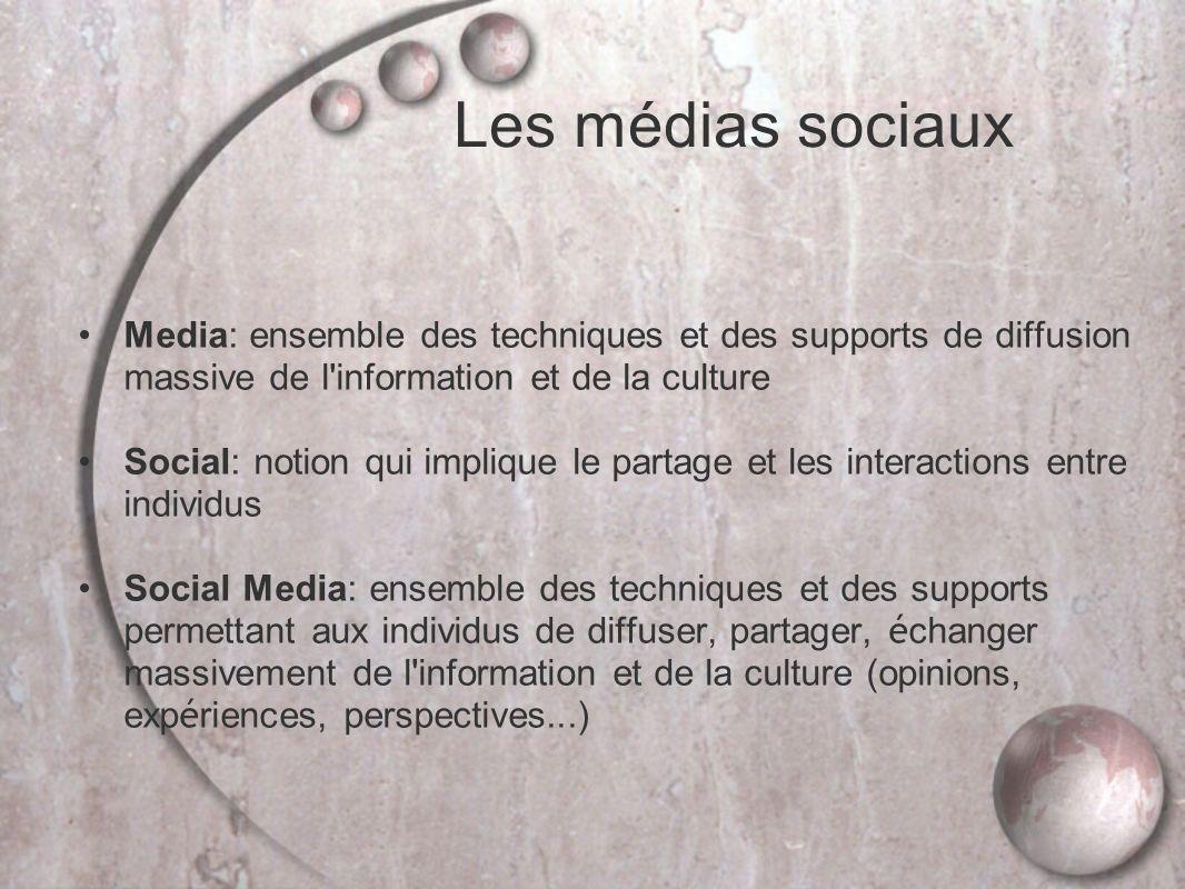 Les médias sociaux Media: ensemble des techniques et des supports de diffusion massive de l information et de la culture.