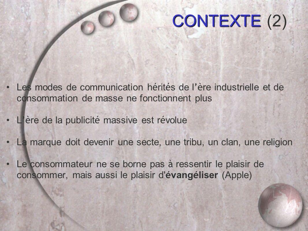 CONTEXTE (2) Les modes de communication hérités de l'ère industrielle et de consommation de masse ne fonctionnent plus.