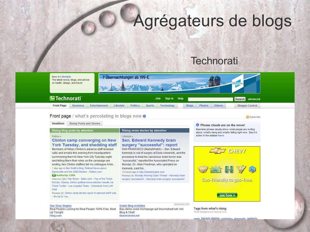 Agrégateurs de blogs Technorati