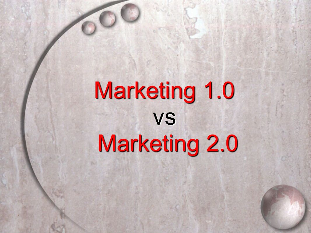 Marketing 1.0 vs Marketing 2.0