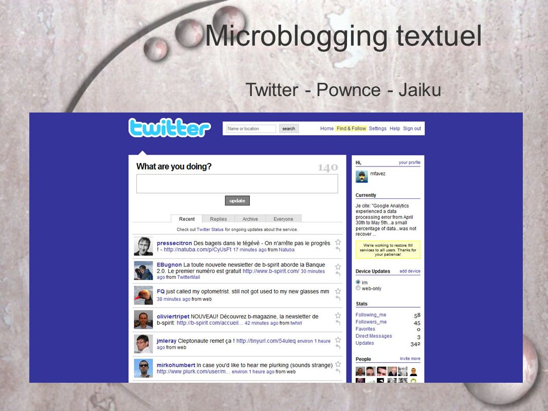 Microblogging textuel
