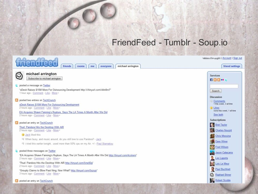 FriendFeed - Tumblr - Soup.io