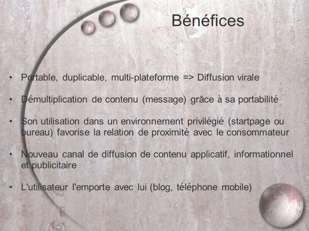 Bénéfices Portable, duplicable, multi-plateforme => Diffusion virale. Démultiplication de contenu (message) grâce à sa portabilité.