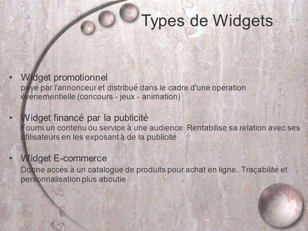 Types de Widgets Widget promotionnel payé par l annonceur et distribué dans le cadre d une opération événementielle (concours - jeux - animation)