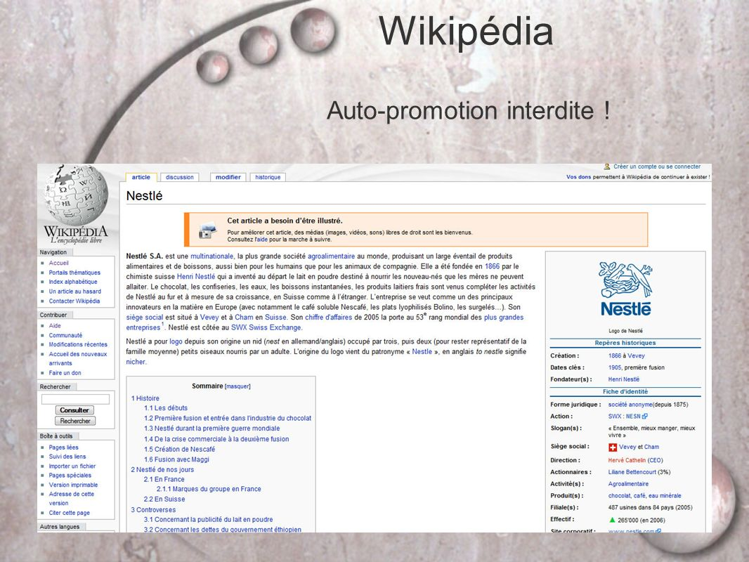 Wikipédia Auto-promotion interdite !