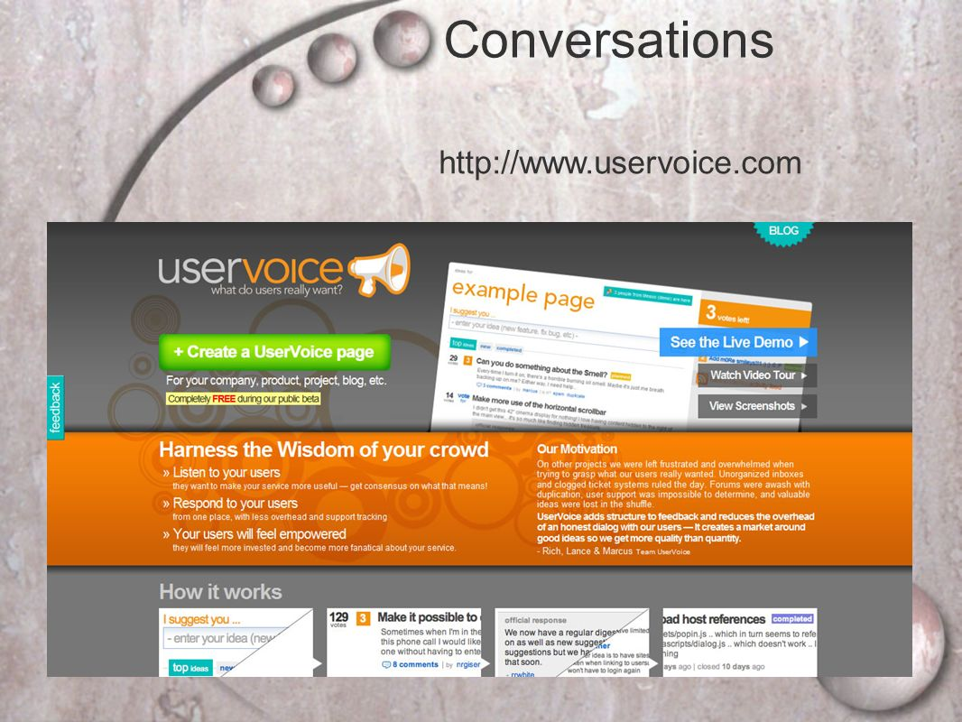 Conversations http://www.uservoice.com