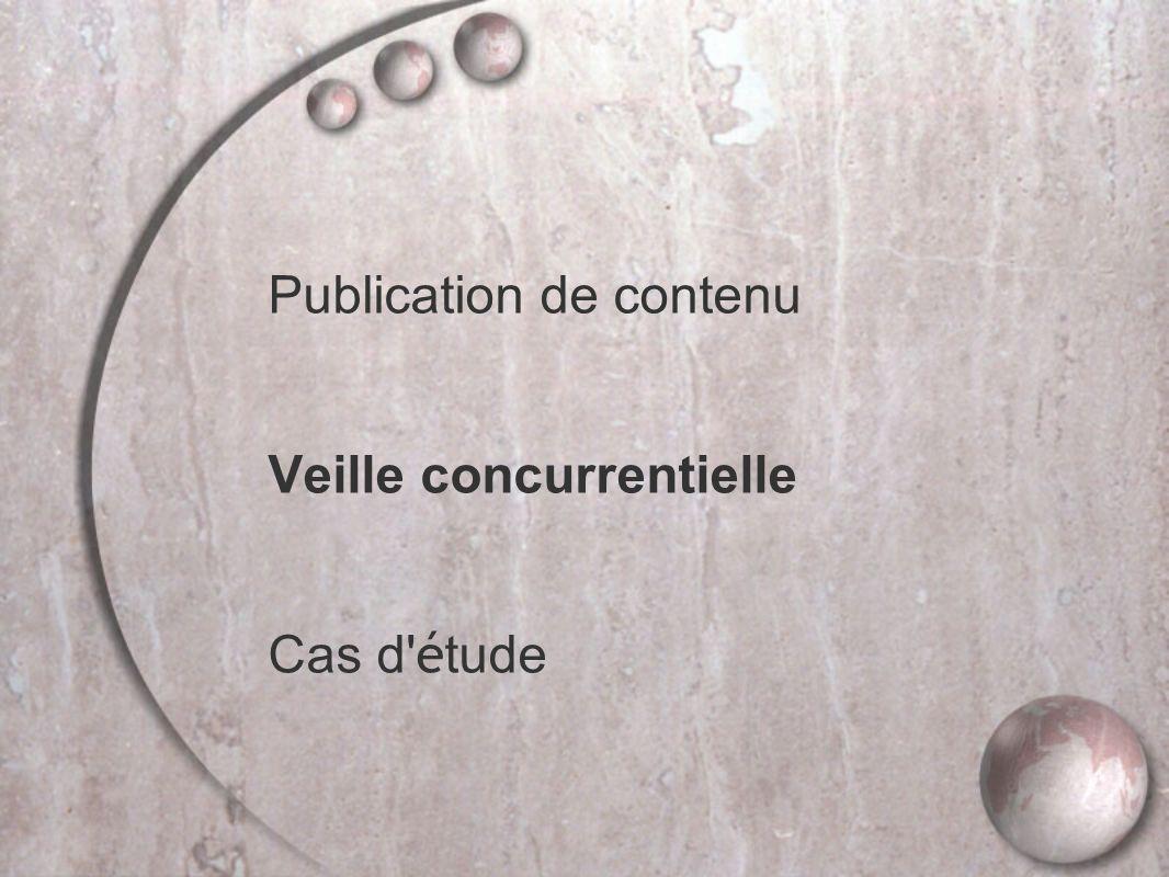 Publication de contenu Veille concurrentielle Cas d étude