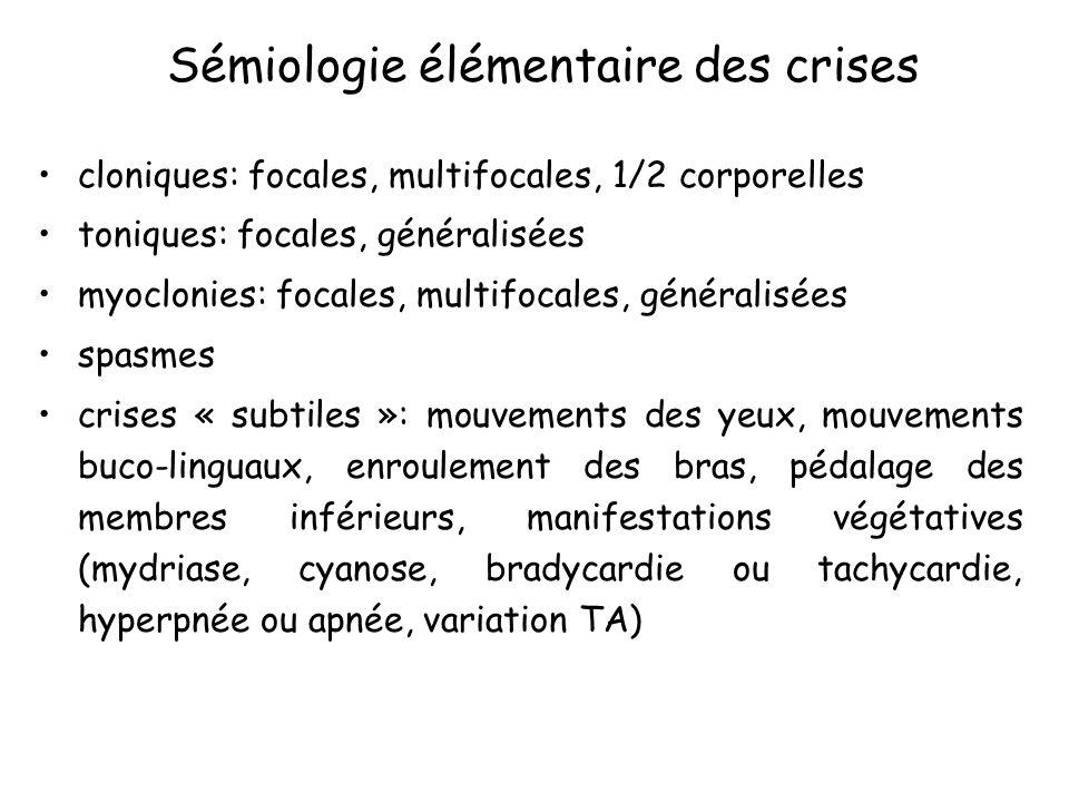 Sémiologie élémentaire des crises
