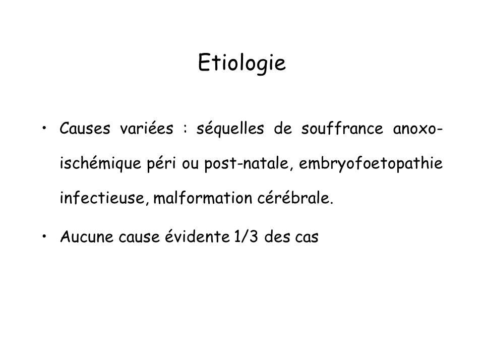 Etiologie Causes variées : séquelles de souffrance anoxo-ischémique péri ou post-natale, embryofoetopathie infectieuse, malformation cérébrale.