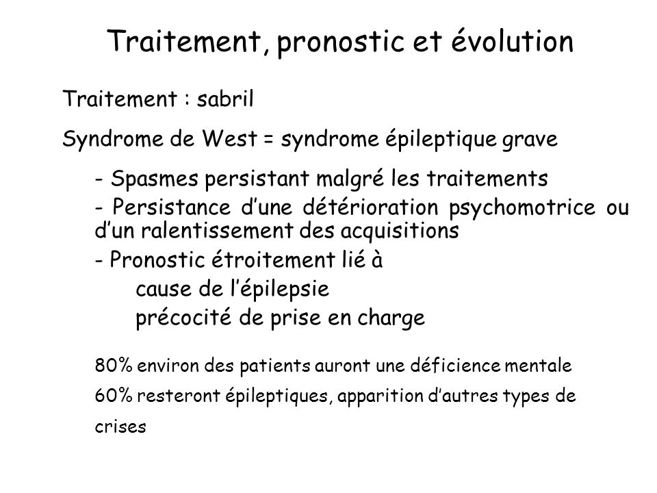 Traitement, pronostic et évolution