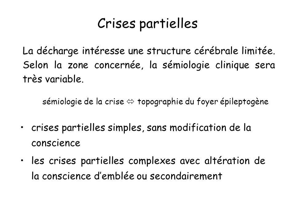 Crises partielles La décharge intéresse une structure cérébrale limitée. Selon la zone concernée, la sémiologie clinique sera très variable.