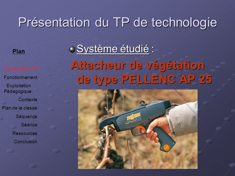 Présentation du TP de technologie